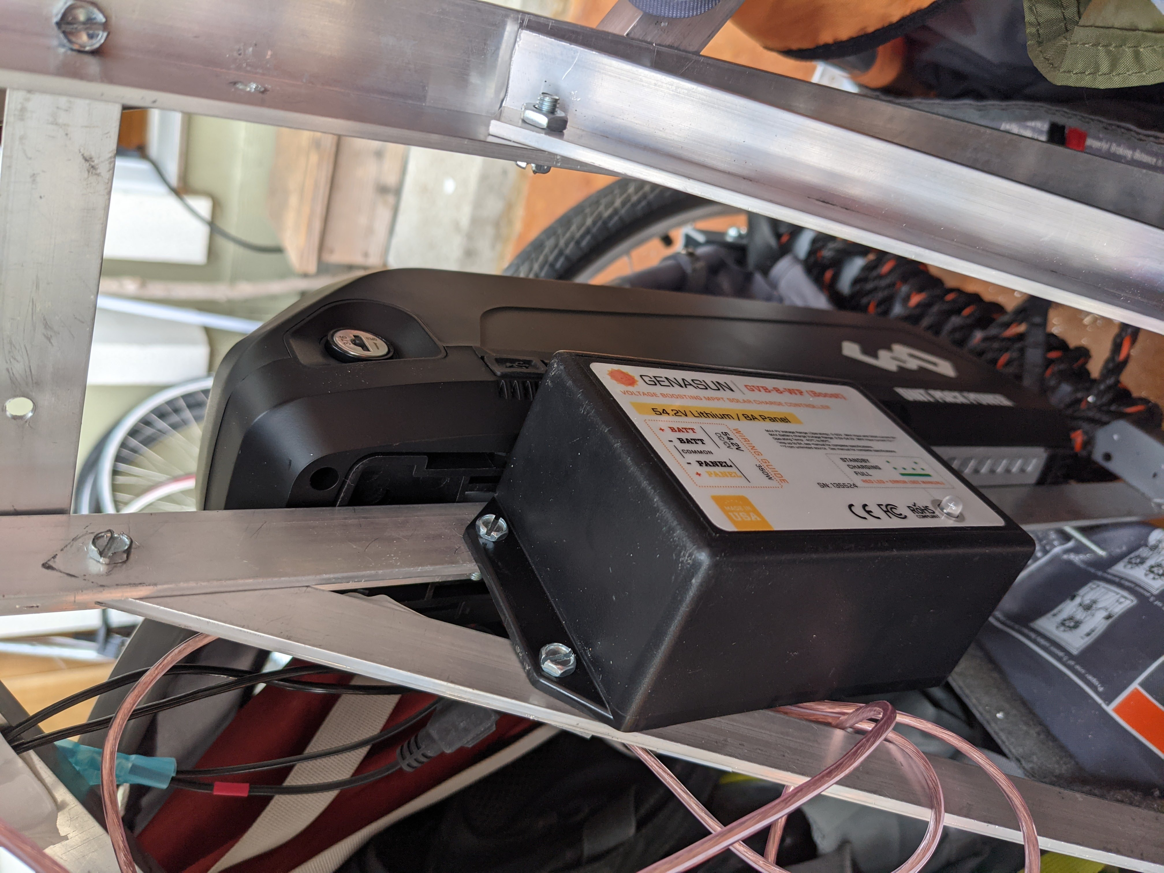 Genasun charge controller mounted in trailer