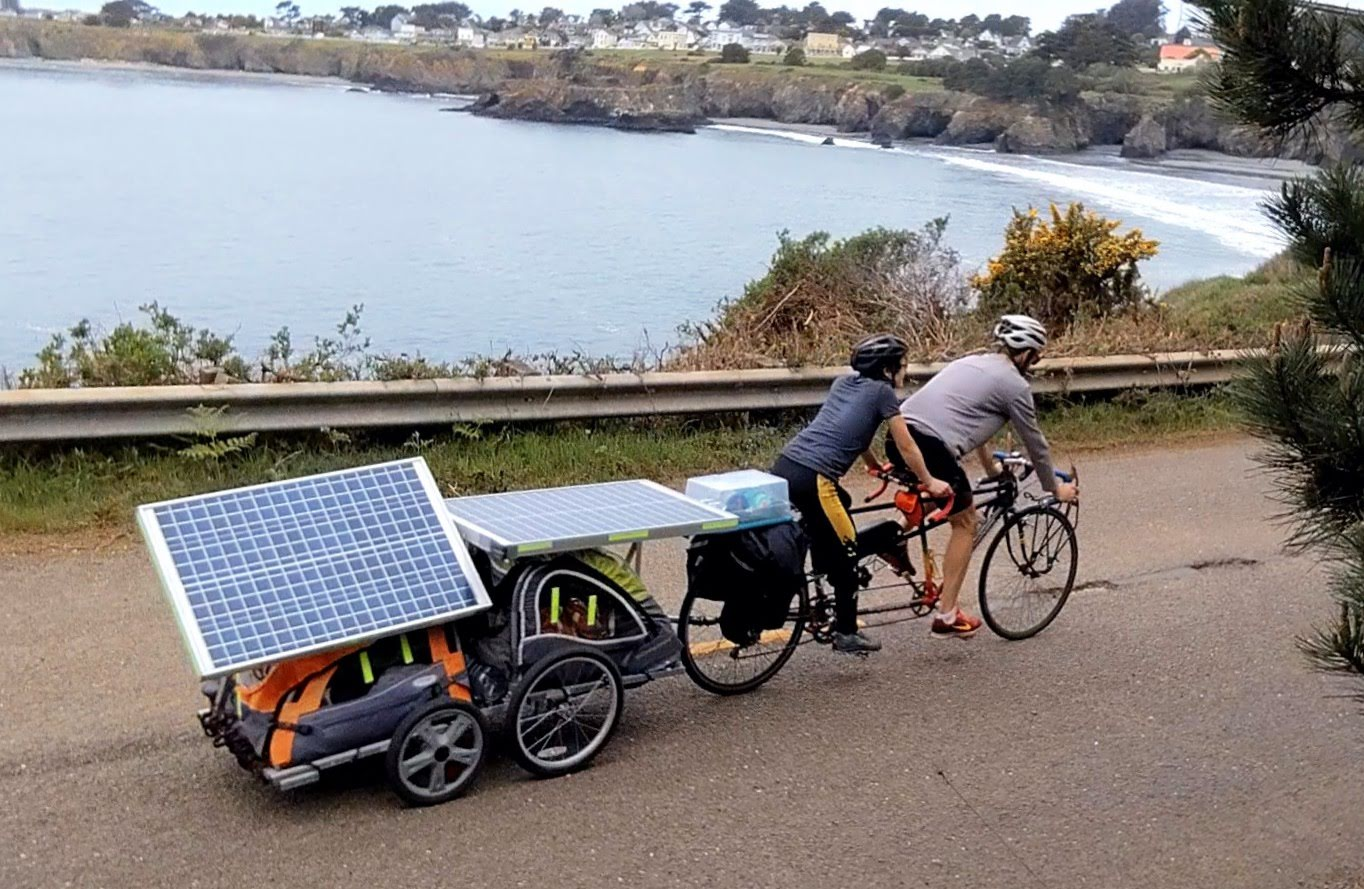 claire and me riding the solar wagon